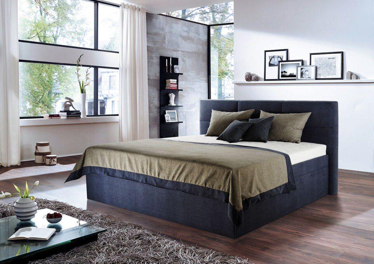 Kasper-Wohndesign Polsterbett Stoff Überlänge Blau Versch