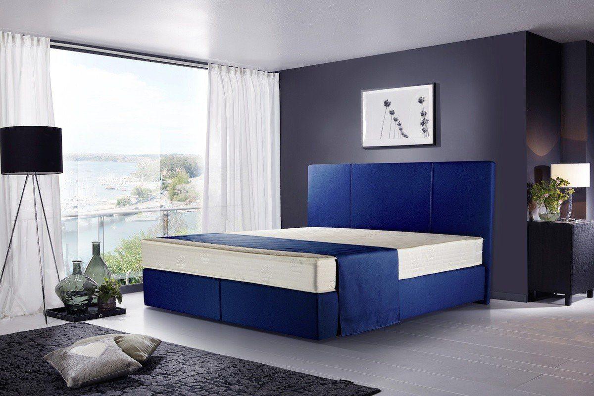 Kasper-Wohndesign Boxspringbett Stoff Überlänge Blau