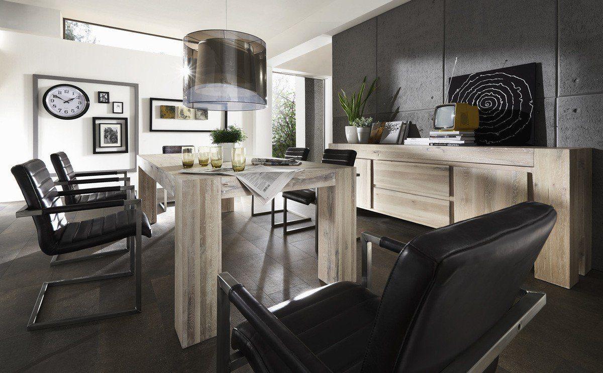 Kasper-Wohndesign Esstisch Massivholz White Wash Versch