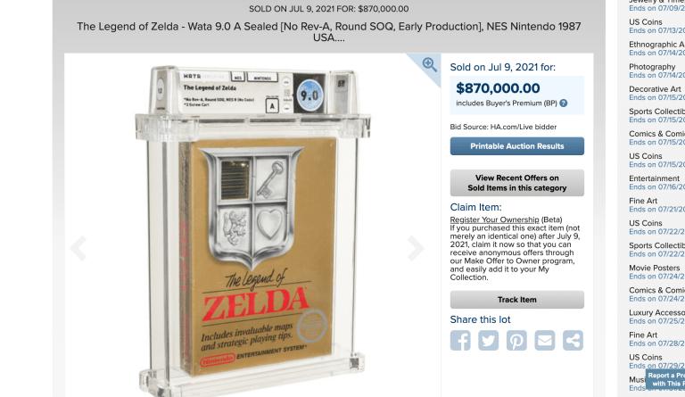 The winning bid for the item.