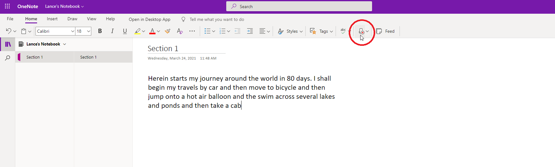 onenote dictation