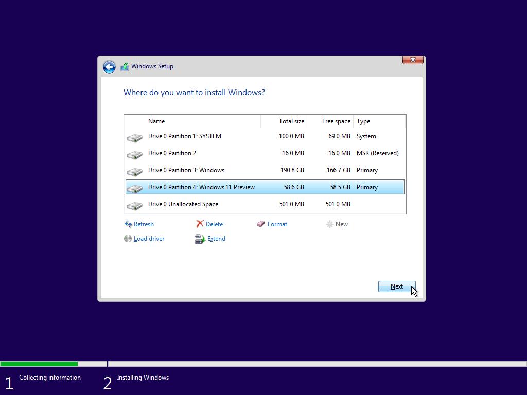 windows 11 partition
