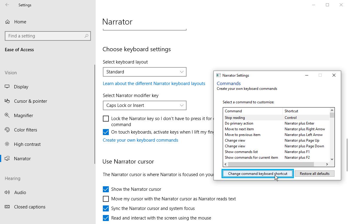 configuración del teclado narrador