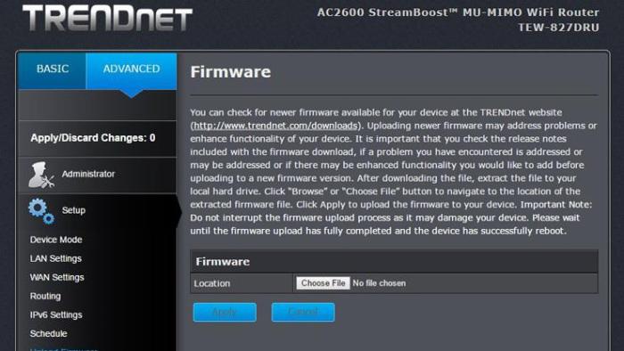 página de actualización de firmware de trendnet
