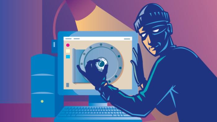 Arte conceptual que muestra a un pirata informático entrando en la PC para robar contraseñas wifi