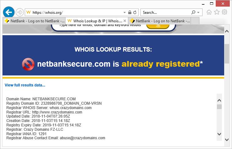 Página de phishing Comprobar Whois