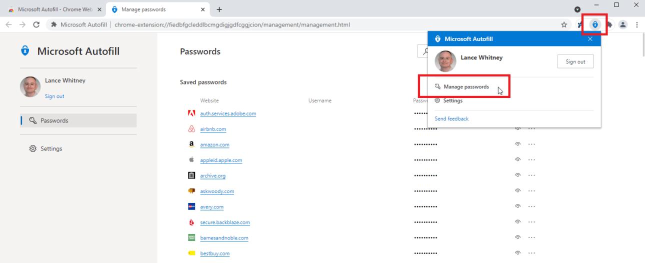 автозаполнение паролей