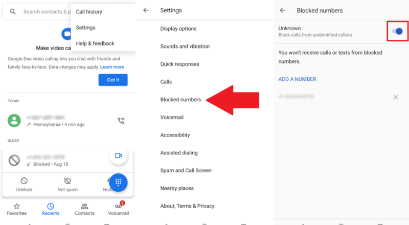 Block All Unknown Callers on Android