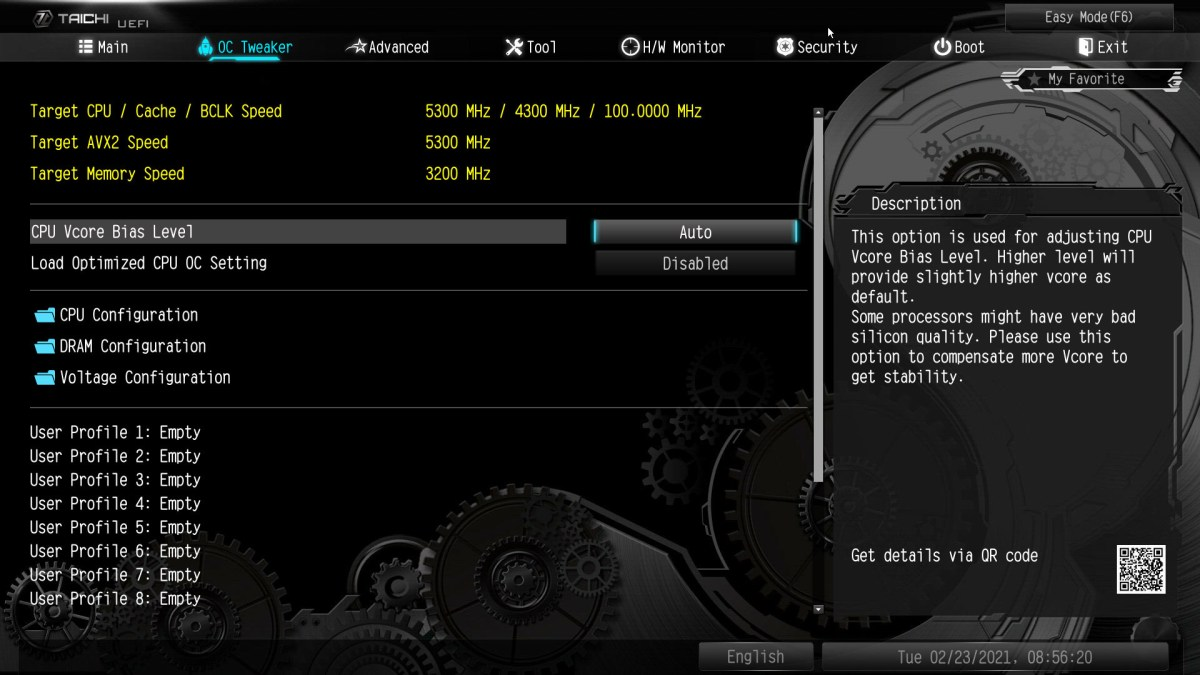 Asrock Z490 Taichi advanced BIOS OC Tweaker