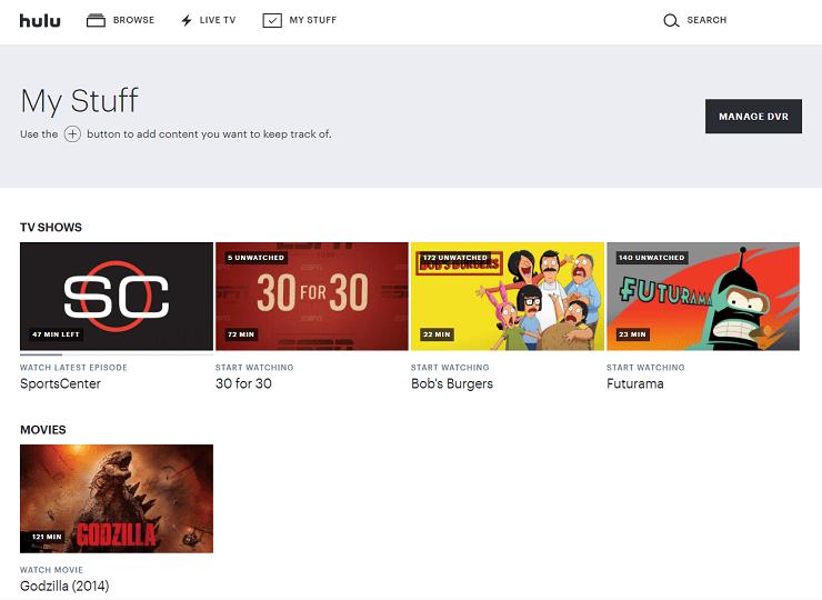 Hulu's My Stuff section on web