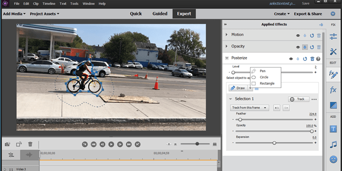 Selections in Effects in Adobe Premiere Elements
