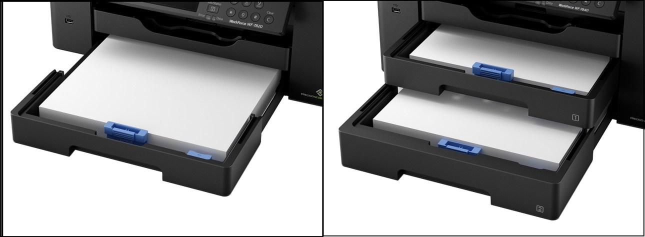 Входные лотки Epson WorkForce Pro WF-7820 по сравнению с WF-7840