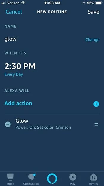 Echo Glow routine settings