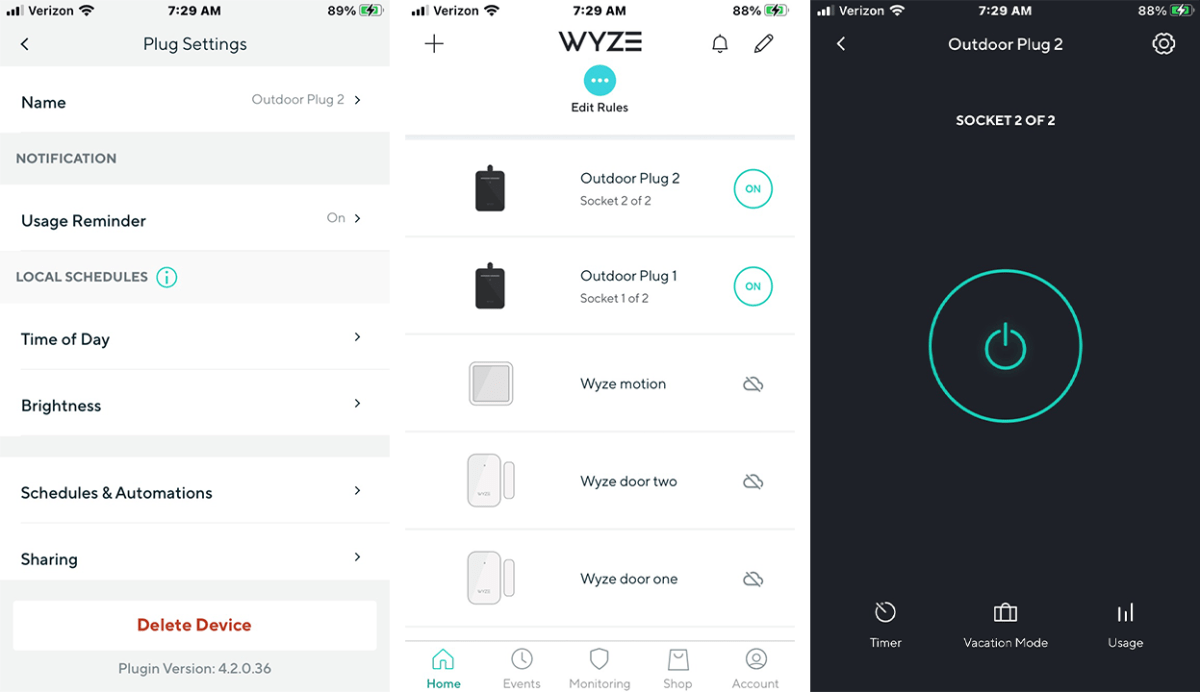 Wyze app screens showing plug settings, rules list with devices, and power on and off button
