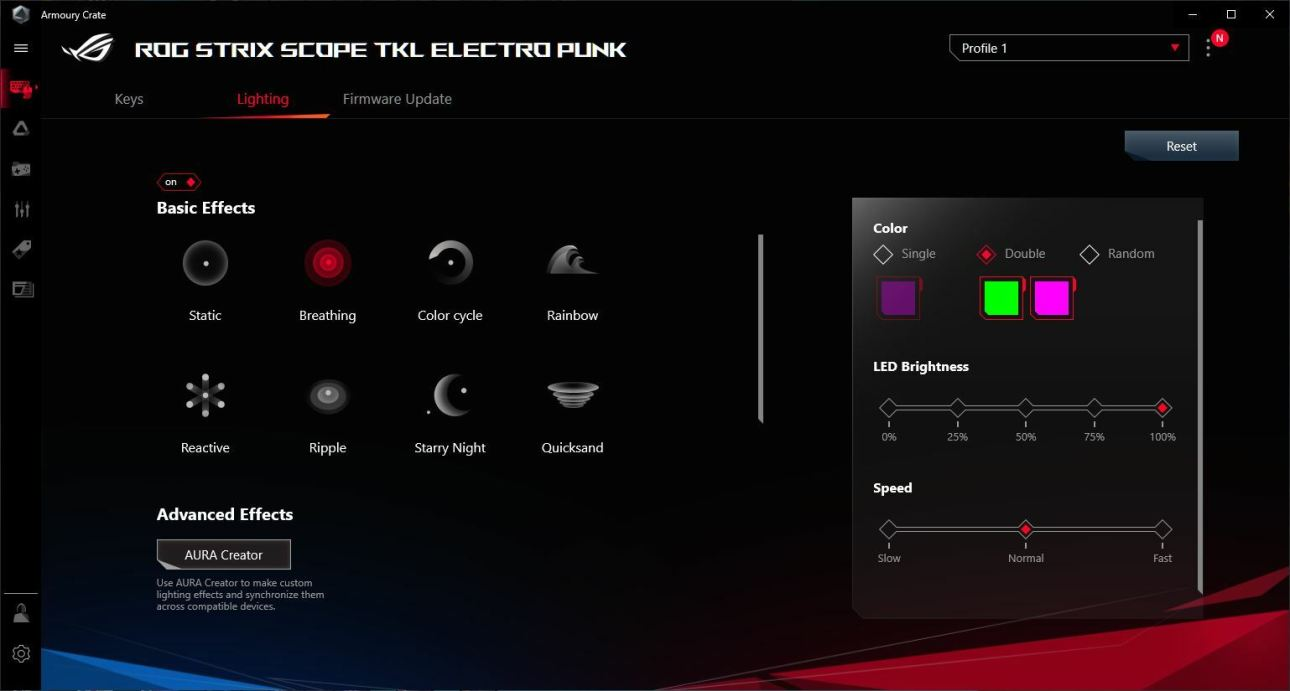 Настройки освещения Asus ROG Strix Scope TKL