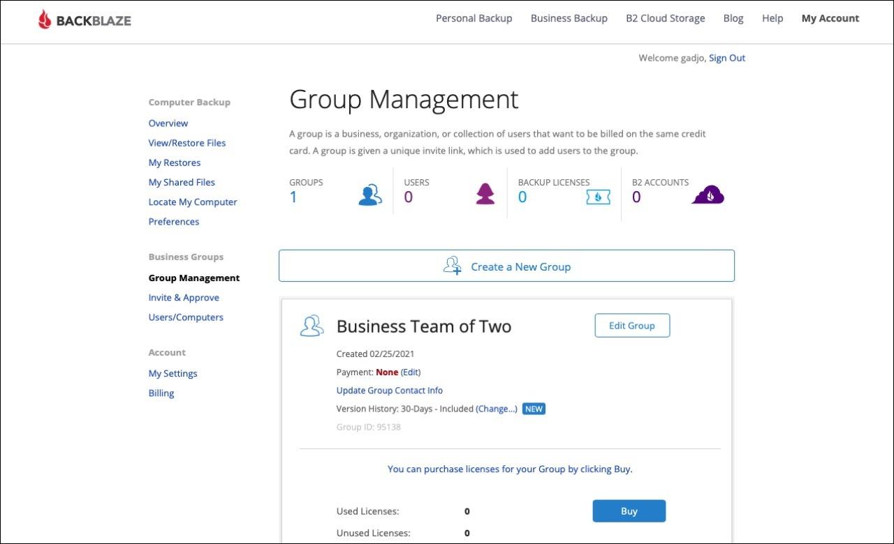 Страница управления бизнесом Backblaze