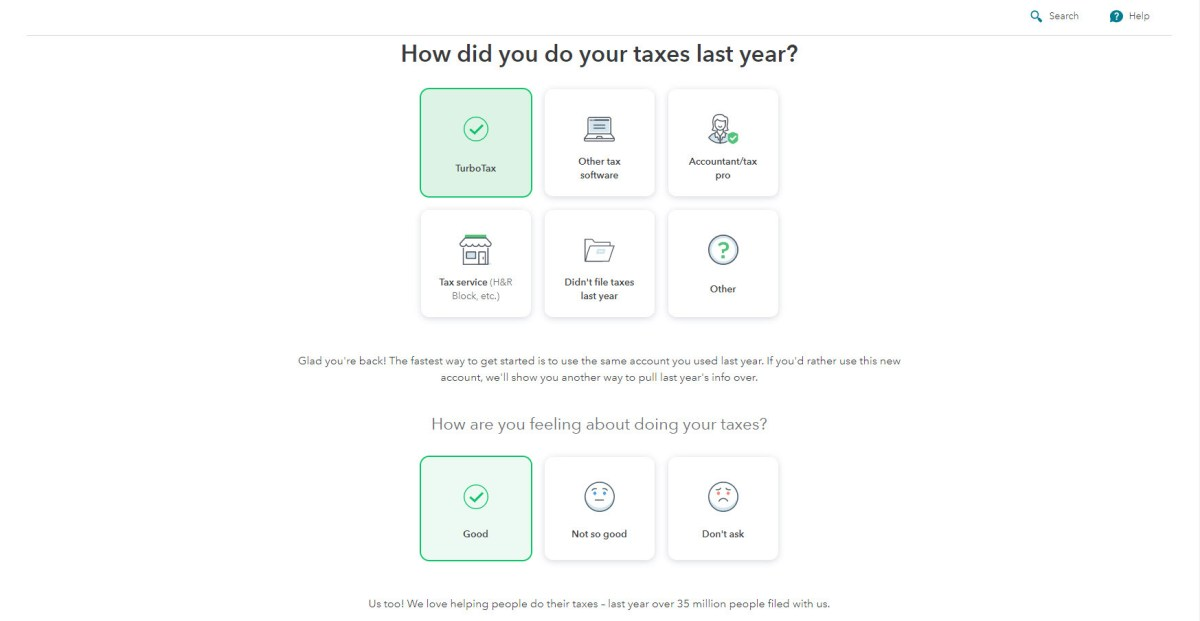 TurboTax prior tax season questions