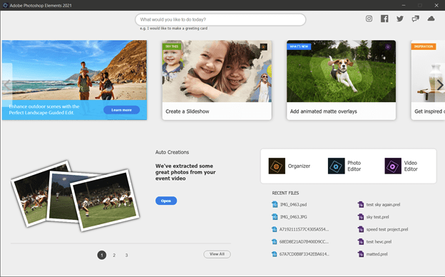 Photoshop Elements welcome screen