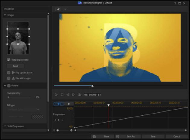 Custom mask transitions in CyberLink PowerDirector