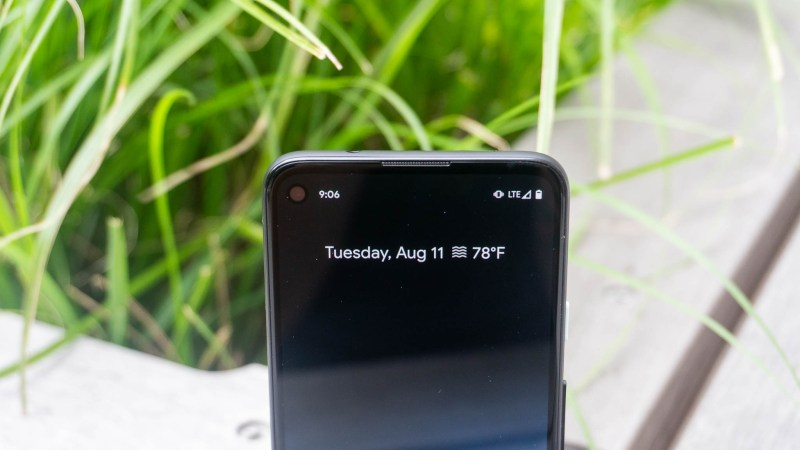 Top of Pixel 4a with hole punch display