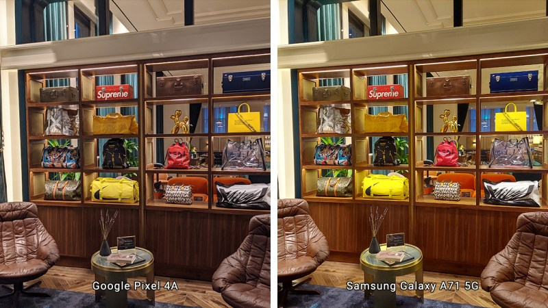 Indoor comparison shot between Pixel 4a and Galaxy A71 5G