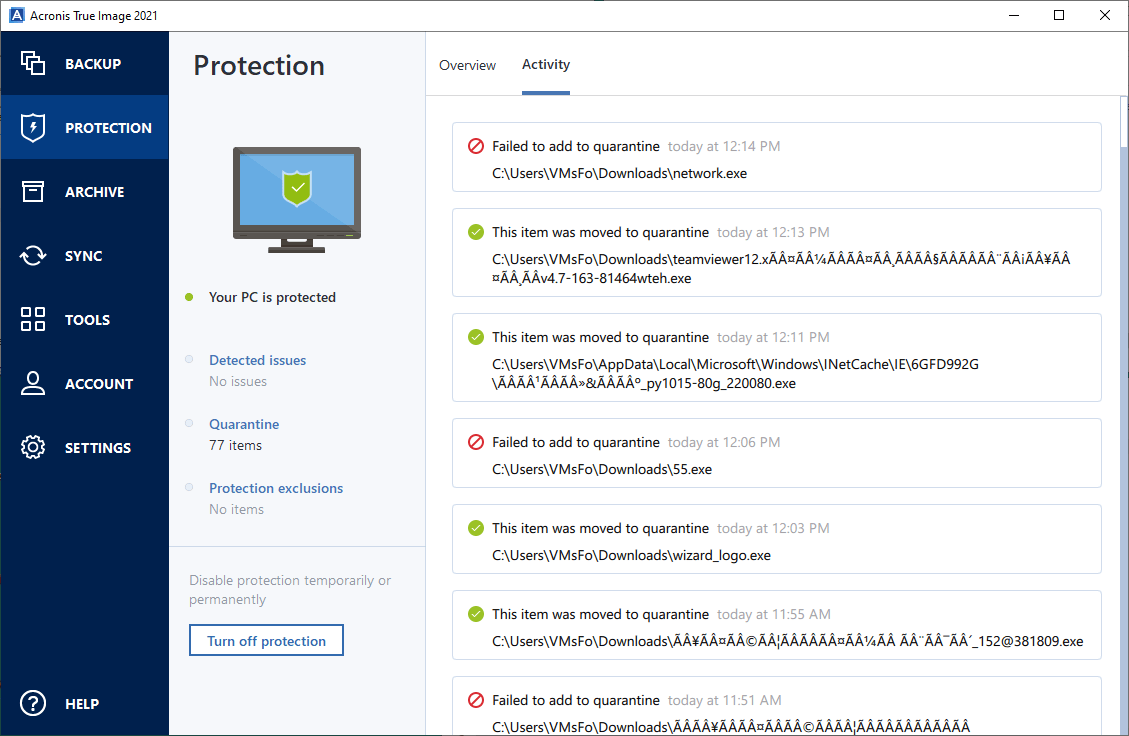 Acronis True Image Malware Downloads in Activity List