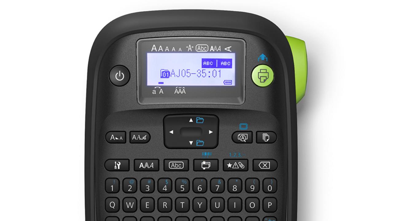 ЖК-дисплей Epson LW-PX300, зеленая кнопка печати и ручной резак