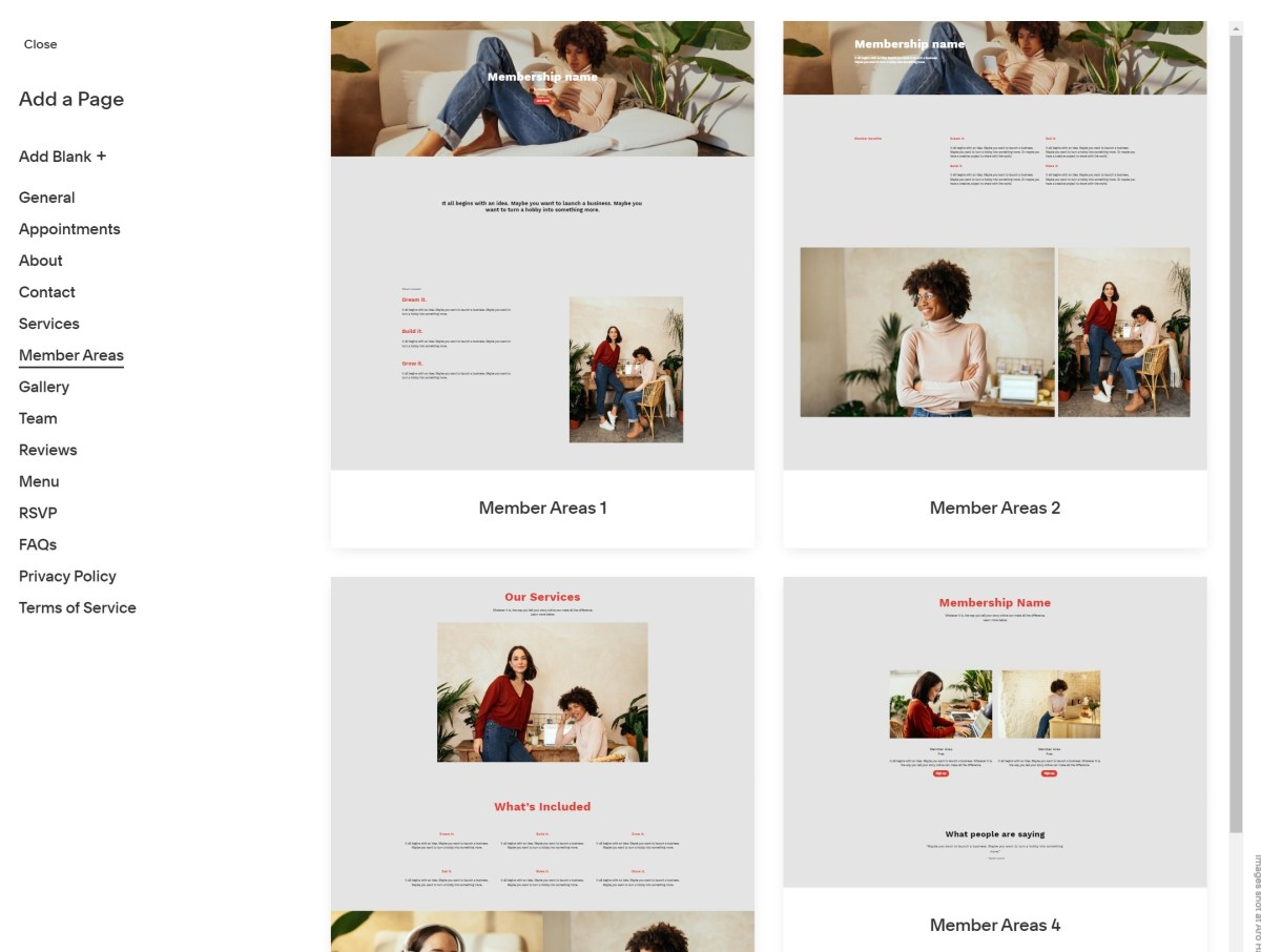 Adding a page in Squarespace
