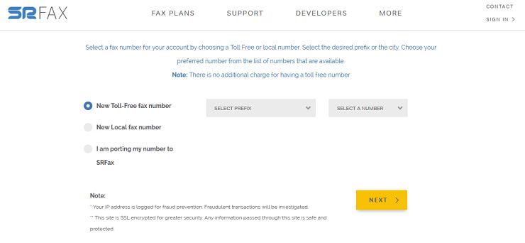 Регистрация номера SRFax