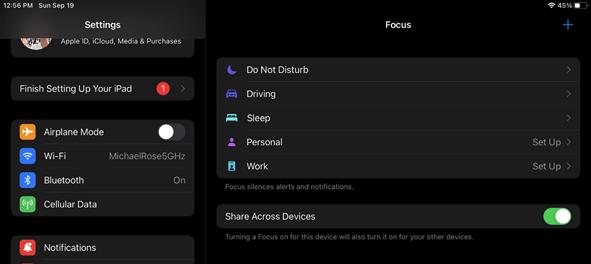 Focus modes in iPadOS 15
