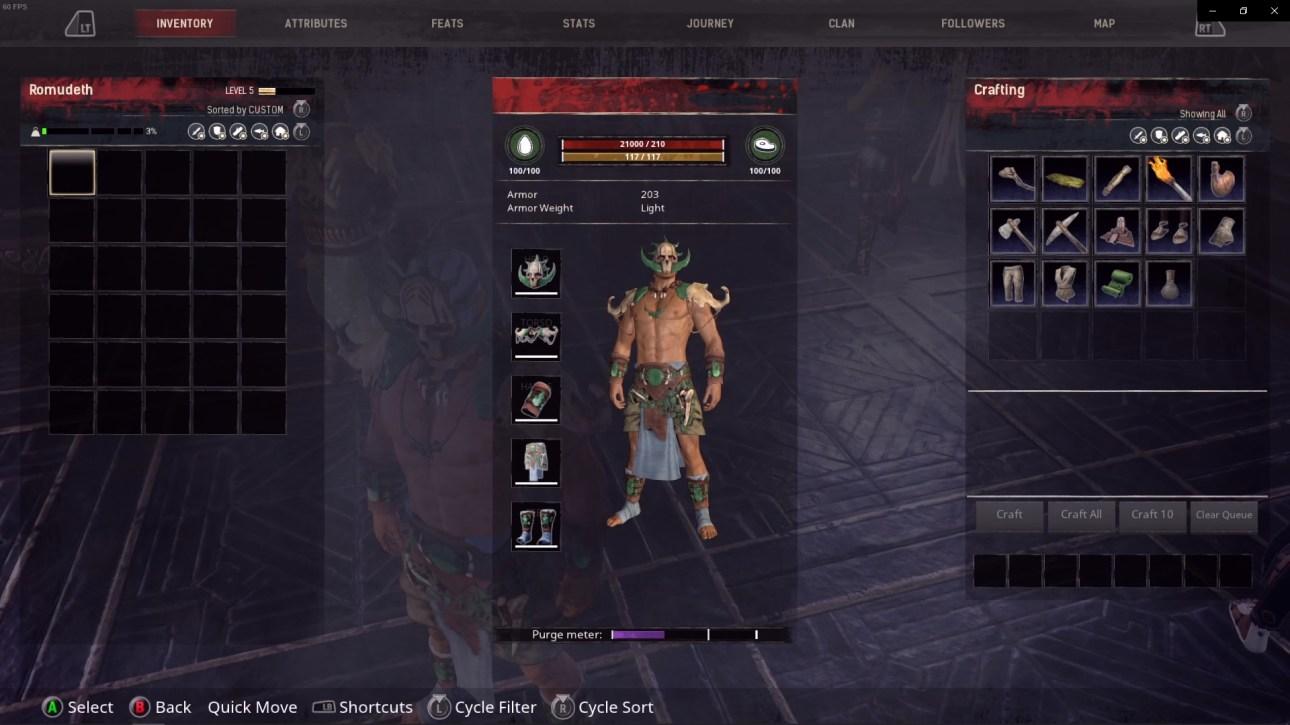 Инвентарь Conan Exiles и меню оружия