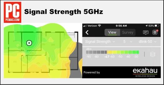 D-Link DIR-X1560 Ekahau Résultats de la force du signal à 5 GHz