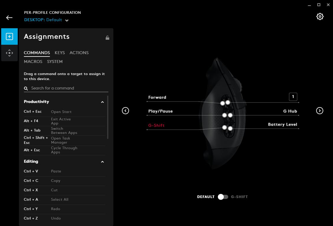Назначение кнопок беспроводной игровой мыши Logitech G604 Lightspeed