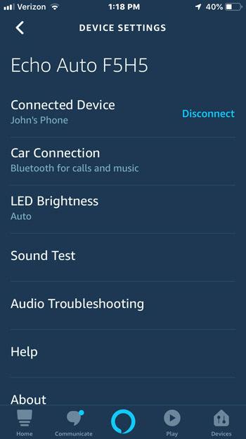 Amazon Echo Auto app settings screen