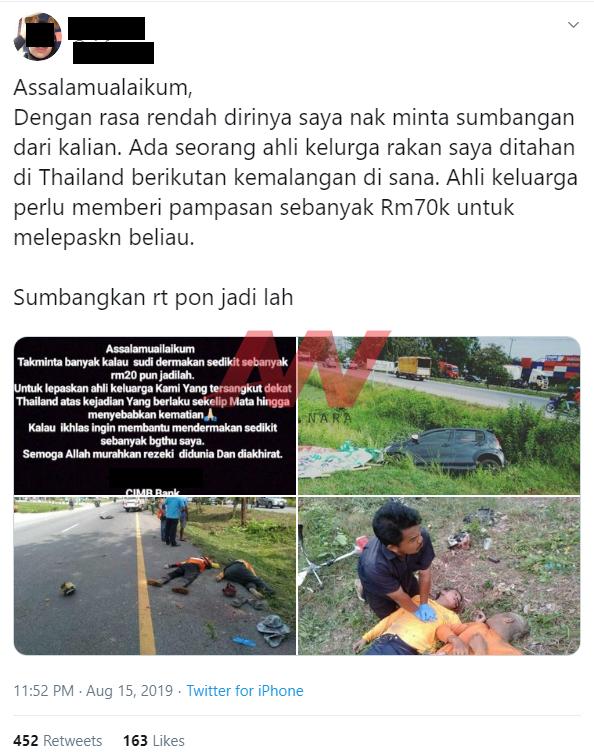 wanita, cuai memandu, sebabkan, lima warga thailand maut, kemalangan,