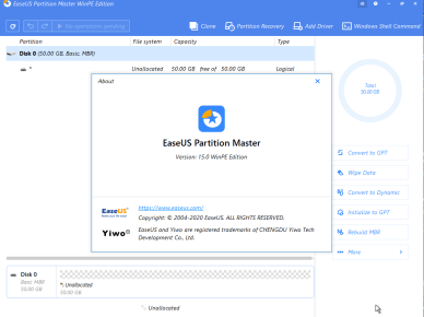EaseUS Partition Master 15.0 WinPE Edition