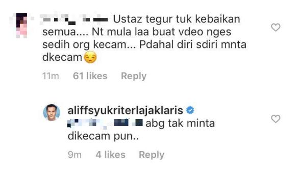 aliff syukri dikecam netizen