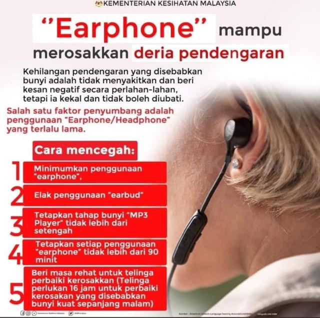 kurangkan kegunaan fon telinga