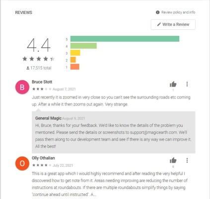 Contoh review aplikasi di Play Store.