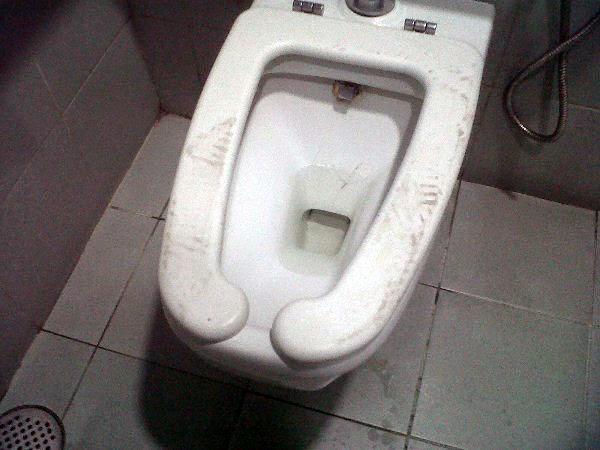 mencangkung di mangkuk tandas duduk
