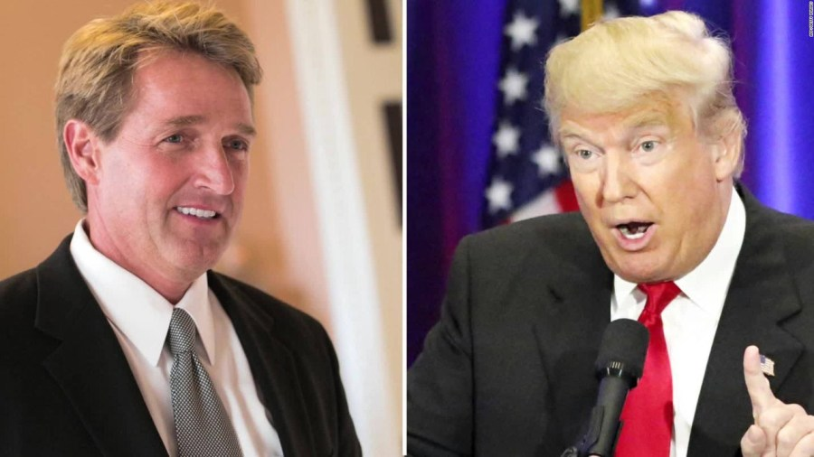 Jeff Flake clashes with President Donald Trump