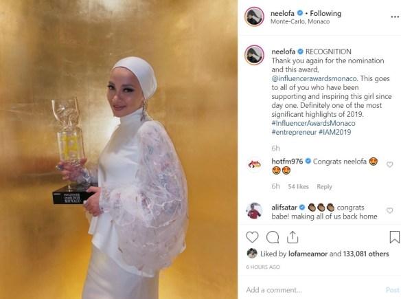 Neelofa Anugerah Influencer Awards 2019 Monaco