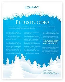 Forest Snow Flyer Template Background In Microsoft Word