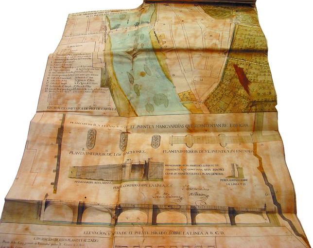 El proyecto del puente Carlos III, de 1775, incluye la primera representación en plano de Miranda.  F.V.R.