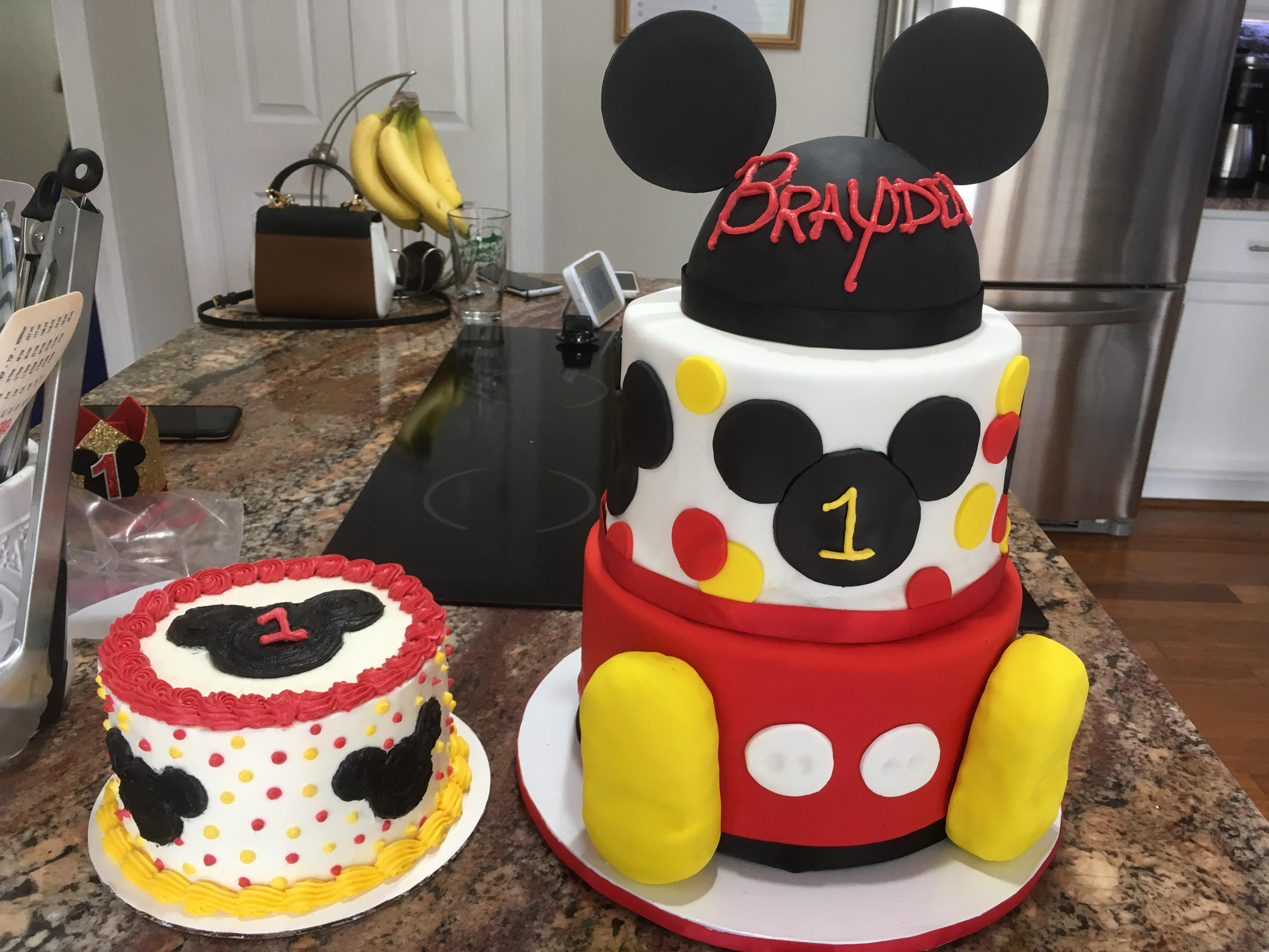 Mickey Mouse First Birthday Cake Baking