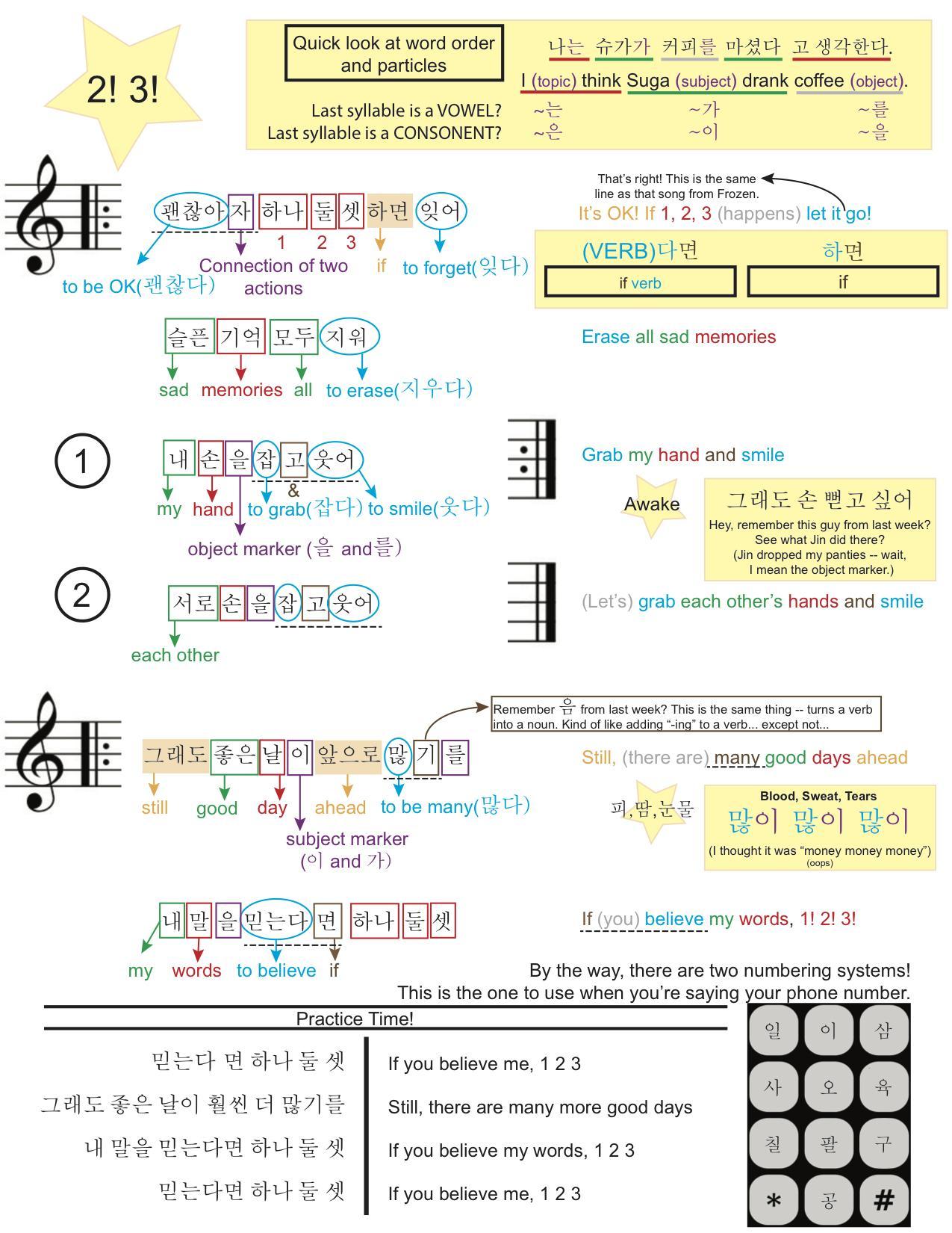 Learn Korean With Bts Lyrics Study Sheet 3 2 3 Bangtan