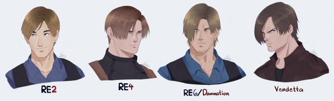 evolution of leon kennedy(-'s hairstyle that keeps getting