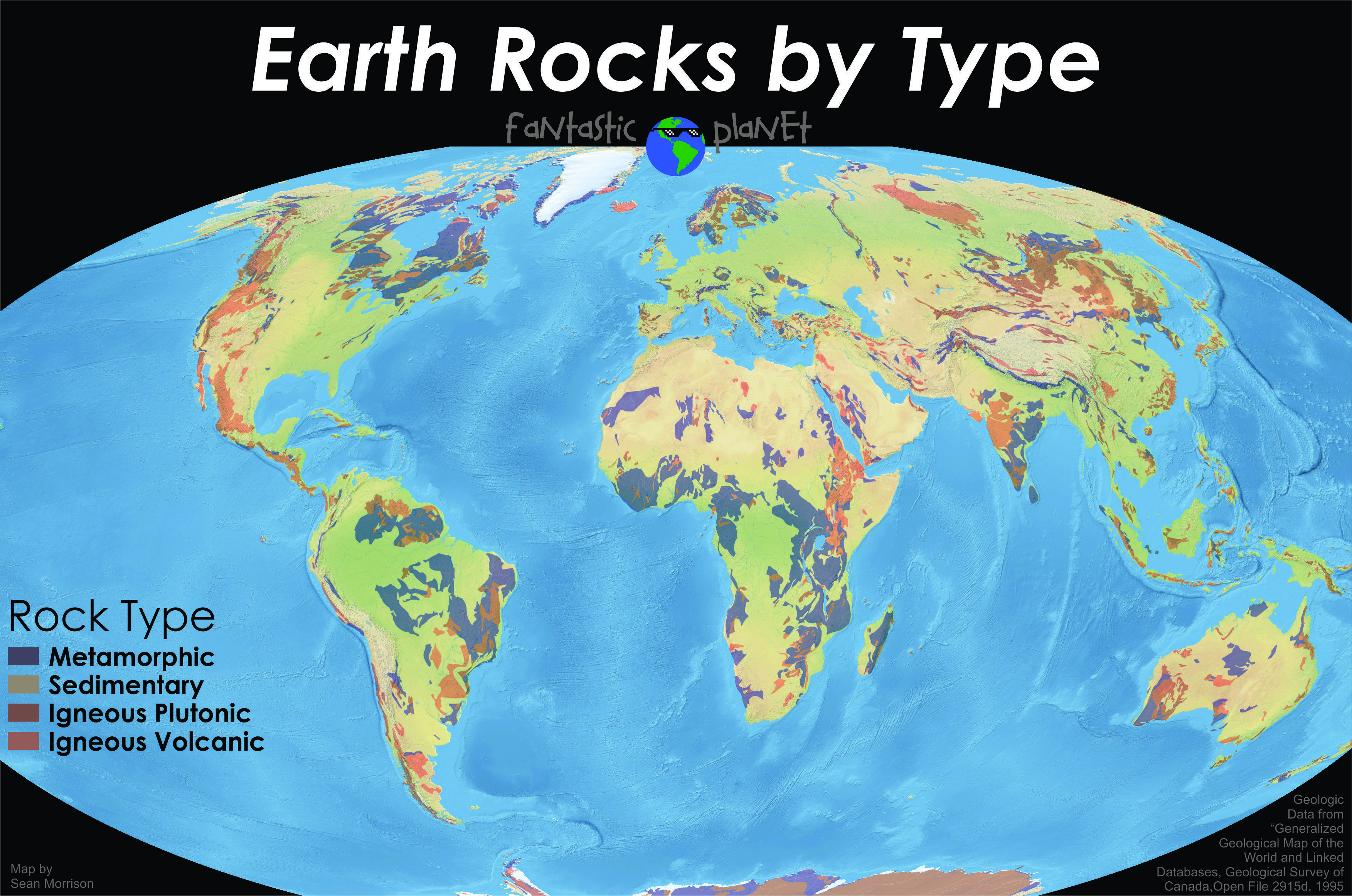 Simplified Geologic World Map Showing Different Rock Types