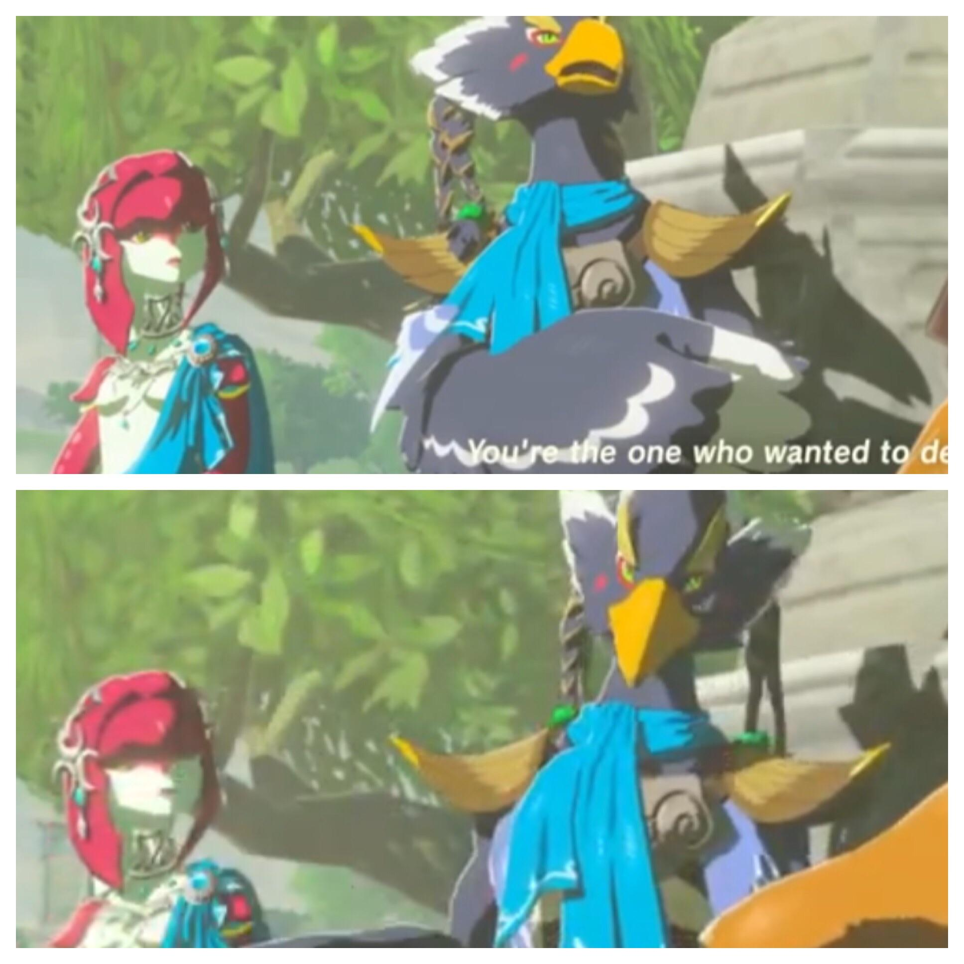 Mipha S Look Before And After Revali Started Criticizing Link S
