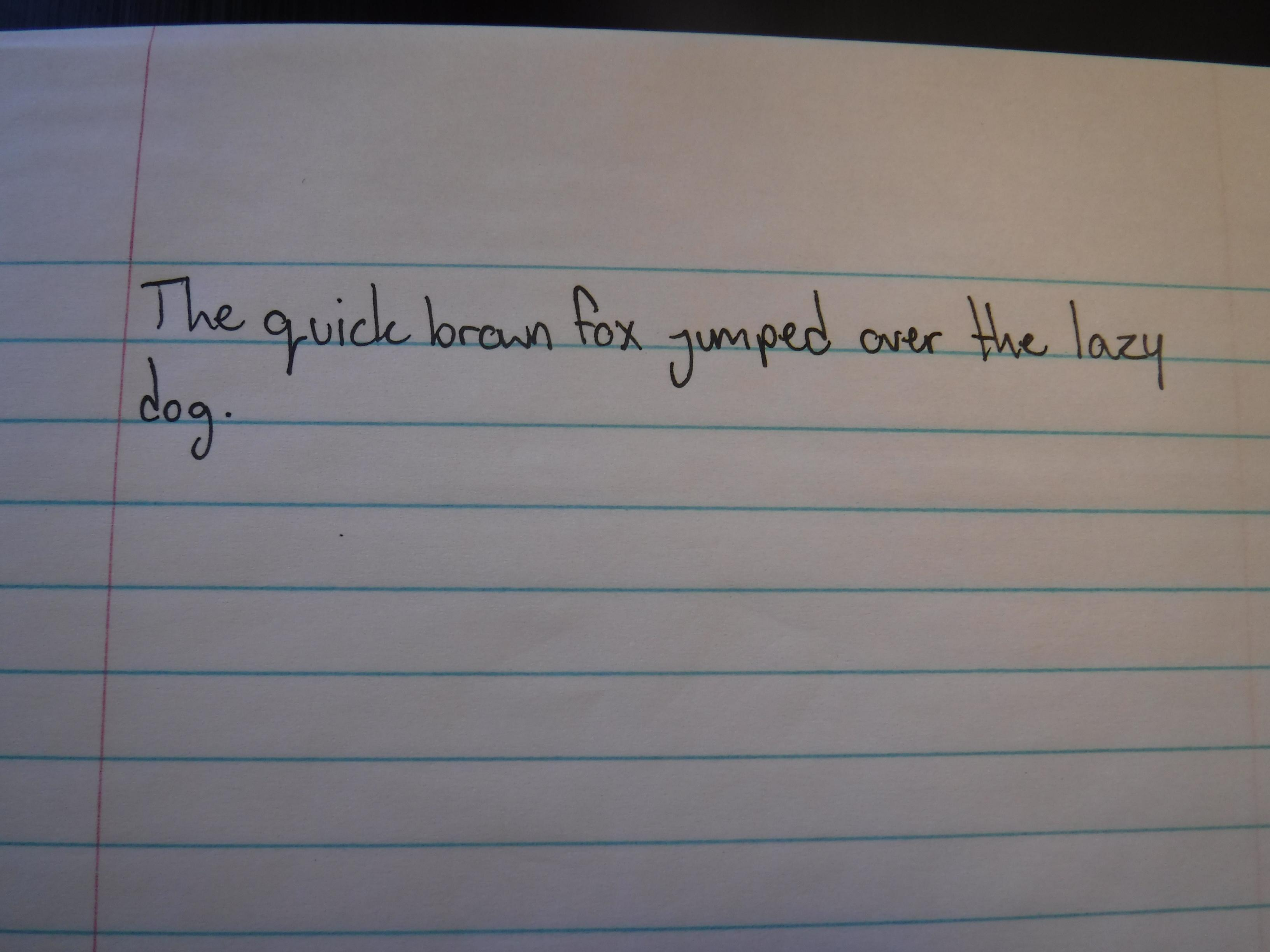 The Quick Brown Fox Jumped Over The Lazy Dog Handwriting